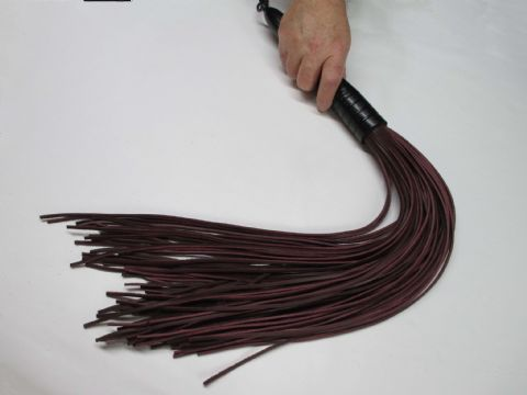 Oxblood Coloured 3mm Wide Falls Leather Black Stained Oak Wood Handled Flogger